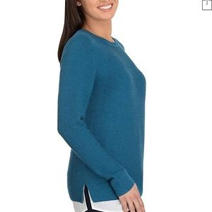 Teal Hilary Radley sweater with chiffon detail